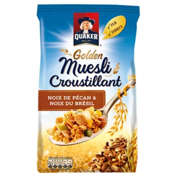 Quaker Golden Muesli Croustillant Noix De Pécan Et Noix Du Brésil 500g (lot de 4)
