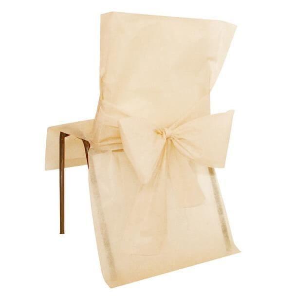 Décoration élégante avec housse de chaise ivoire et son nœud (x10) R/2931