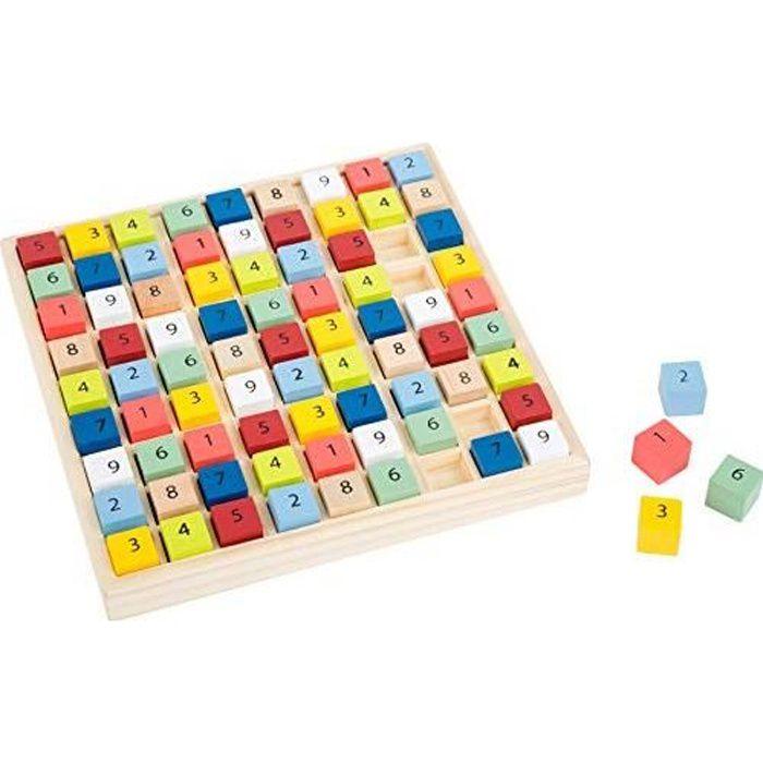 small foot 11164 Sudoku coloré -Educate- en bois, avec 81 cubes numérotés dans des couleurs vives, à partir de 6 ans. 11164