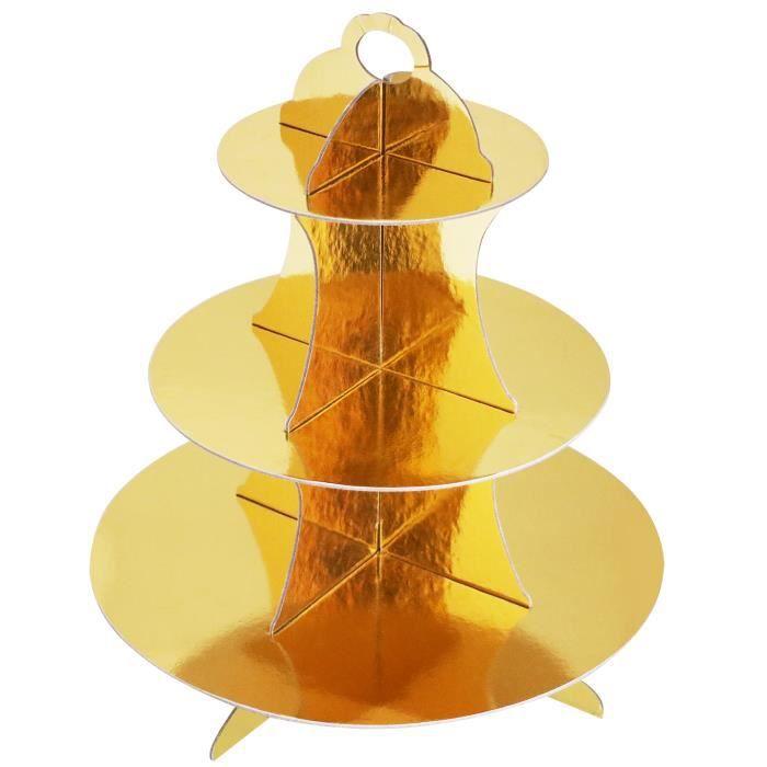 Support Métallique Or en Carton de Muffins Petits Gâteaux Réutilisable à Trois Niveaux TRIXES
