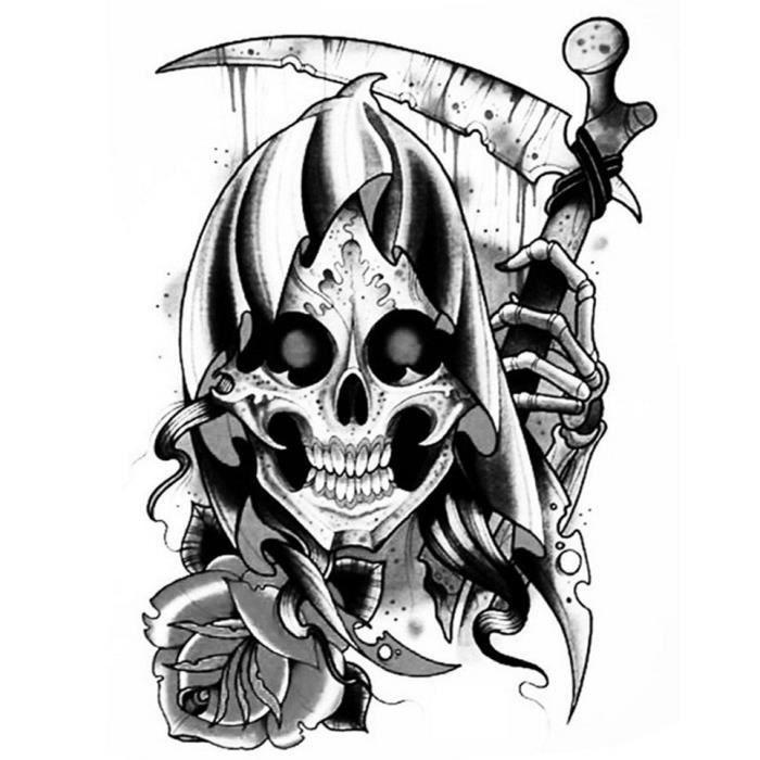 Tatouage Ephemere Tete De Mort La Faucheuse Achat Vente Tatoo Bijou De Corps Tatouage Ephemere Tete De Cdiscount