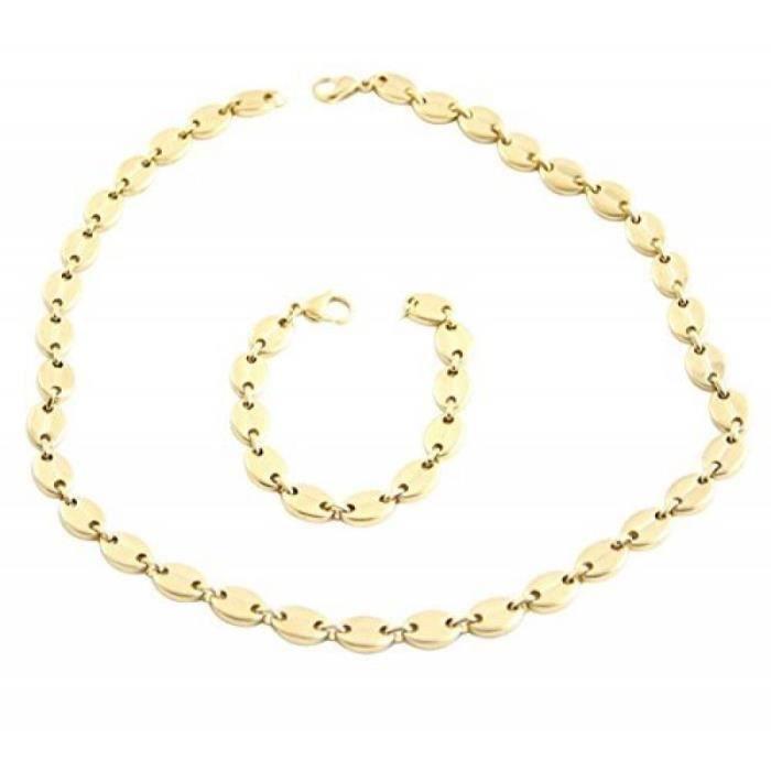 Bracelet Parure Collier Boucles D/'oreilles Plaqué Or Maille Am