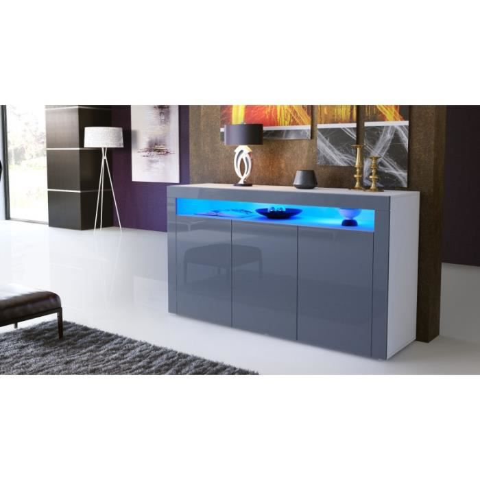 buffet enti rement laqu blanc et gris avec led achat. Black Bedroom Furniture Sets. Home Design Ideas