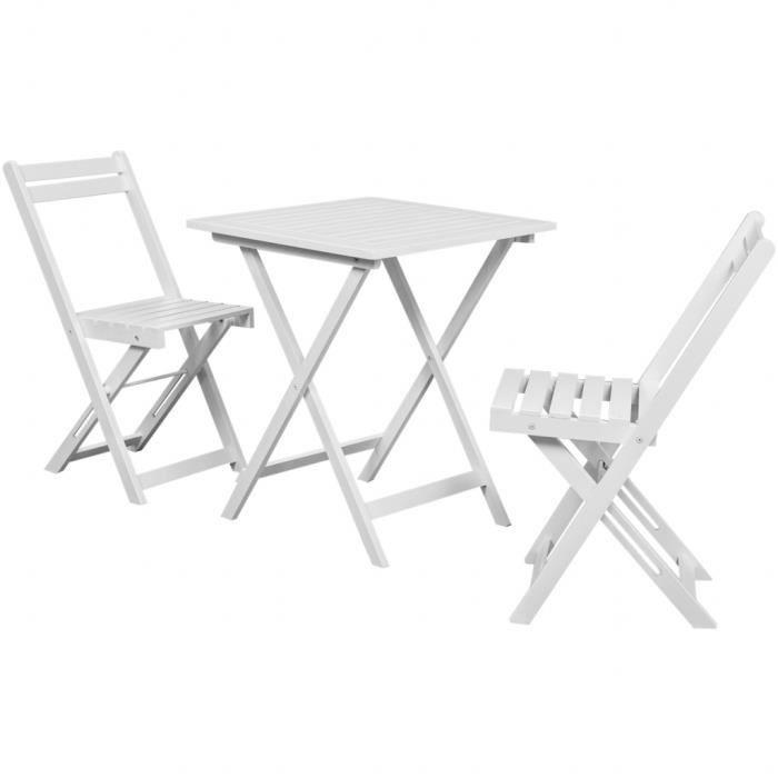 Table à manger avec deux chaises pour balcon Blanc bois d ...