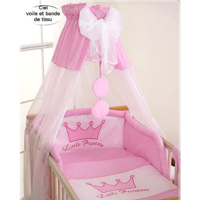ciel de lit b b en voile avec bande princesse r achat vente ciel de lit b b 5908297423647. Black Bedroom Furniture Sets. Home Design Ideas