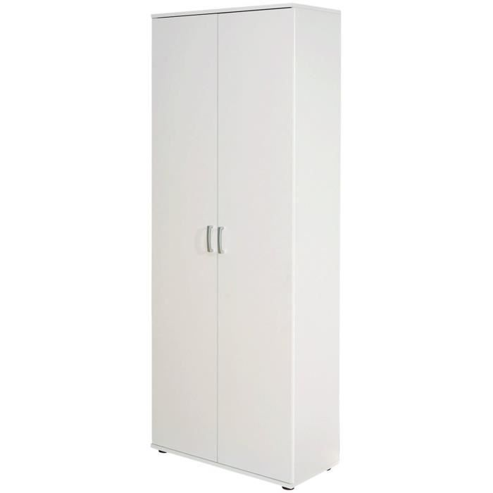 armoire blanc avec 5 tag res et 2 portes dim achat. Black Bedroom Furniture Sets. Home Design Ideas