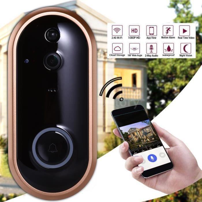 transmission sur Smartphone WiFi Sonnette Vidéo Interphone Avec HD-Caméra