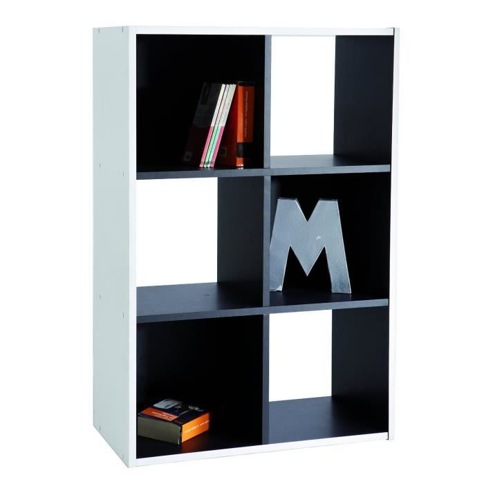 biblioth que s paration 6 cases blanc noir achat vente. Black Bedroom Furniture Sets. Home Design Ideas