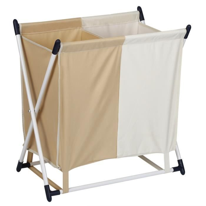 Finether panier linge x frame pliant avec 2 compartiment - Panier a linge sale 3 compartiments ...