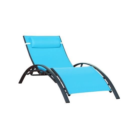 bain de soleil textil ne turquoise aluminium no achat vente chaise longue bain de soleil. Black Bedroom Furniture Sets. Home Design Ideas