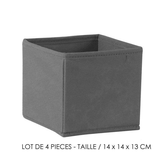 lot de 4 tiroir de rangement tissu lin cube de rangement. Black Bedroom Furniture Sets. Home Design Ideas