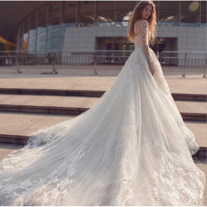 Nouvelle mariée mariage hiver à manches longues