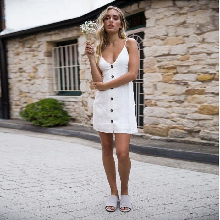 JUPE robes femmes - Nouveau coton femmes robe d'été san