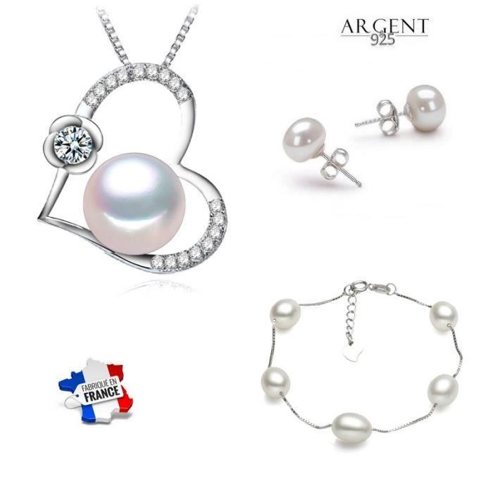 Parure COLLIER Perle de CULTURE Boucles en ARGENT NEUF avec écrin