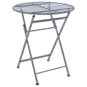 TABLE DE JARDIN  Table de jardin pliante - Style Fer Forgé - GRIS p
