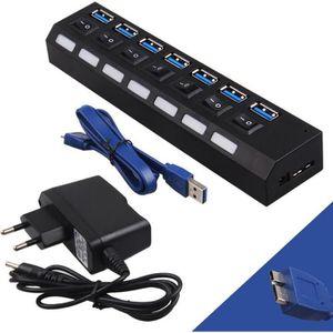 CÂBLE RÉSEAU  USB 3.0 Hub 7 ports Adaptateur+interrupteur+Alimen