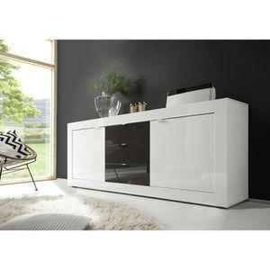 BUFFET - BAHUT  Buffet bahut blanc et gris laqué design FELINO 3 L