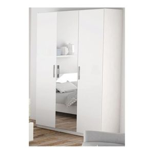 armoire de chambre avec miroir 3 portes achat vente. Black Bedroom Furniture Sets. Home Design Ideas