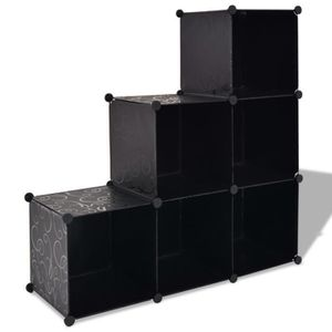 BOITE DE RANGEMENT Homgeek cube de rangement 6 compartiments noir 110