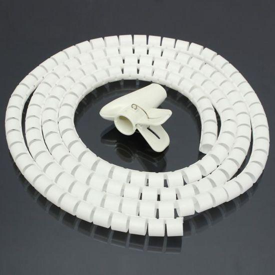 2,5 M Blanc TPFNet Gaine Range Cable Spirale 30 mm avec loutil