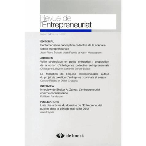 Revue de l 39 entrepreneuriat volume 11 2012 n 2 achat for Revue marketing