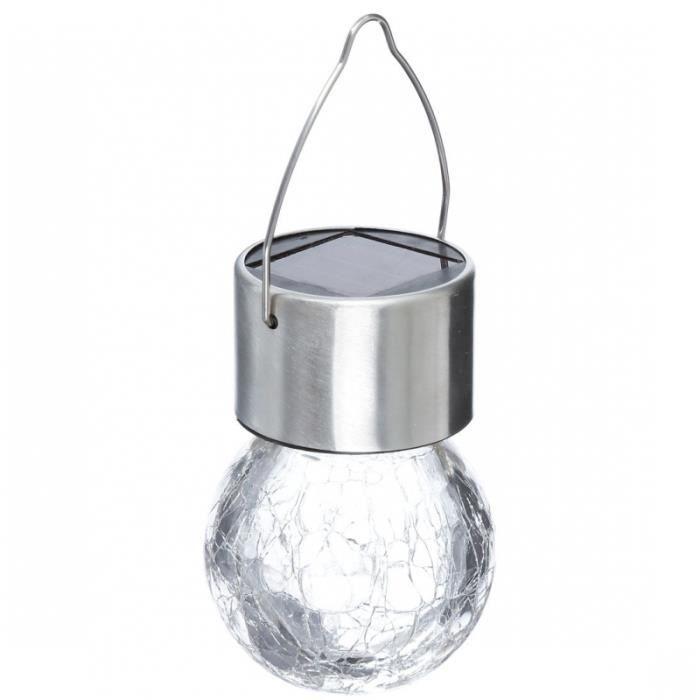 Lampe solaire suspendue - 10 cm - Inox et verre