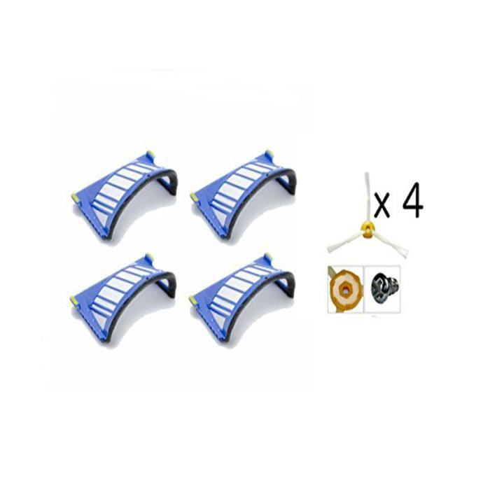Pack de 4 Brosses Latérales et 4 Filtres AeroVac iRobot Roomba Séries 585 595 600 605 610 616 620 630 650 680 681