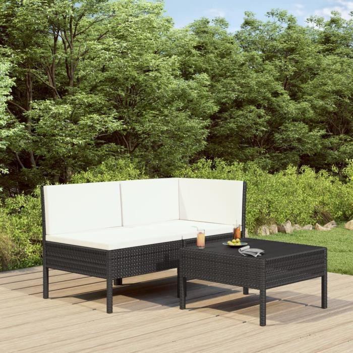 Sofa de jardin en Rotin 3 places résine tressée ensemble chaise Table NOIR ensemble fauteuil lot de jardin