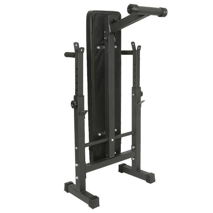Banc de Musculation Abdominaux Pliable Hauteur Réglable Noir avec Support pour Haltère
