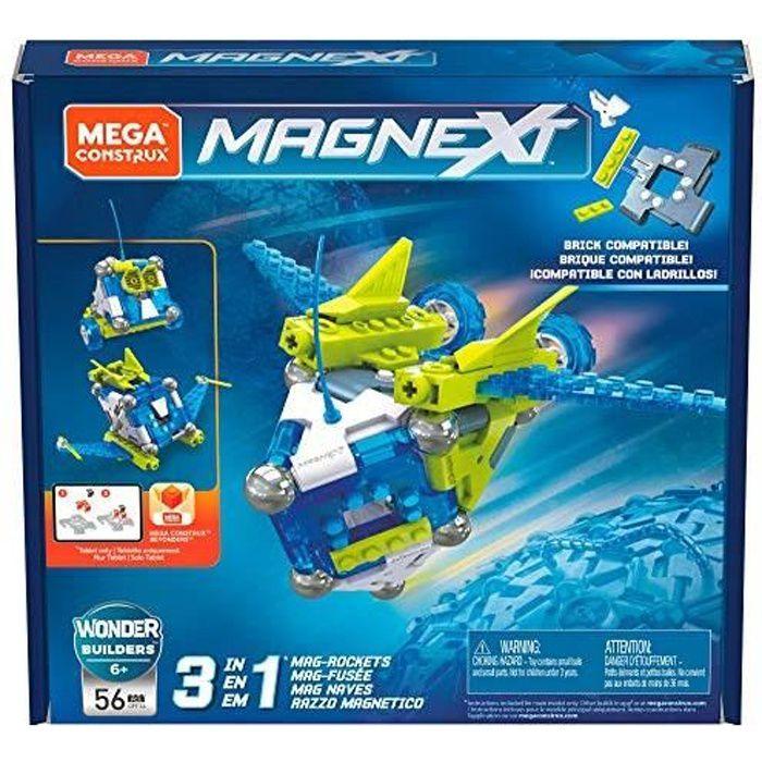 Mega Construx Magnext Wonder Builders Mag-fusée 3-en-1, Jeu de Construction Aimanté, 56 Pièces, pour Enfant Dès 6 Ans, G GFF2