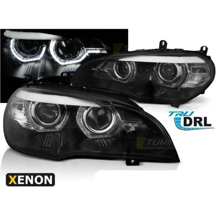 2 FEUX PHARE AVANT XENON ANGEL EYES A LED BMW X5 E70 PHASE 1 DE 2007 A 04/2010