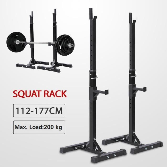Yaheetech Repose Haltère Réglable Charge max.200 kg 14 Niveaux Repose Barre Musculation Longs à Disques Squat Rack Noir