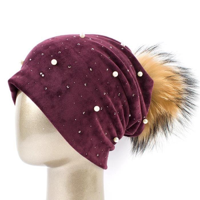 Wine Red A -Geebro – Bonnet à pompon pour femmes, en Polyester, perles brillantes et strass, chapeaux tête de mort