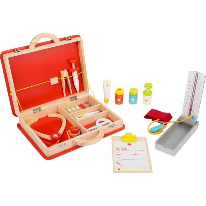 malette docteur enfant Small Foot 11160 Malette de docteur Premiers secours en bois avec accessoires tels que steacutethoscope t49