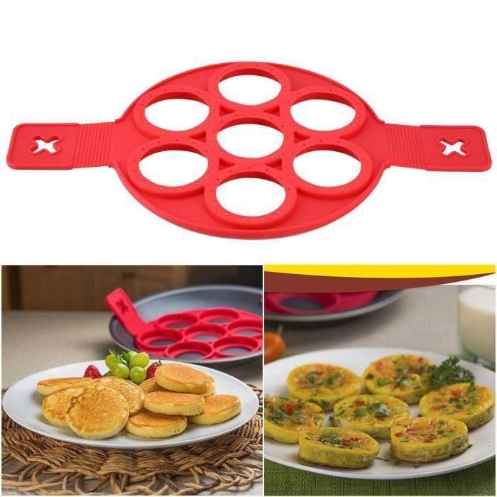 Moule Silicone Omelette Crêpes Pancake 7 Cercles Rapide Facile Façon de Faire Crêpes Parfait Ustensiles de Cuisine LITT1832