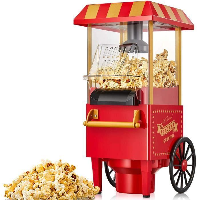 Machine à Pop Corn, 1100W Retro Machine à Popcorn avec Air Chaud, Sans Gras Huile, Facile á L'utilisation, Rouge