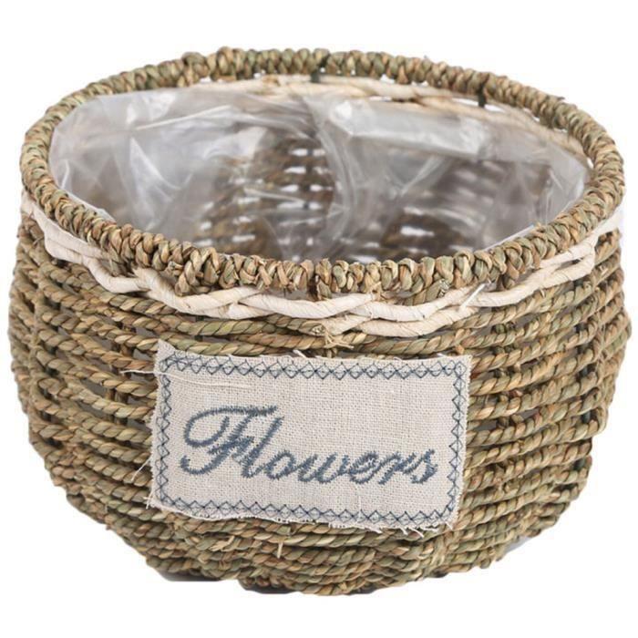 Tissé Panier de Pain de Pain de Panier de Fleur de Stockage de Stockage de Pots de Fleurs de Nourriture Vase Paniers Tissés Vase L