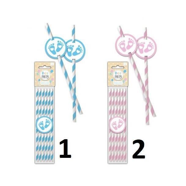 6 Pailles Baby Shower - Mod1 Bleu Garçon - Paille Décoration Fête - 920