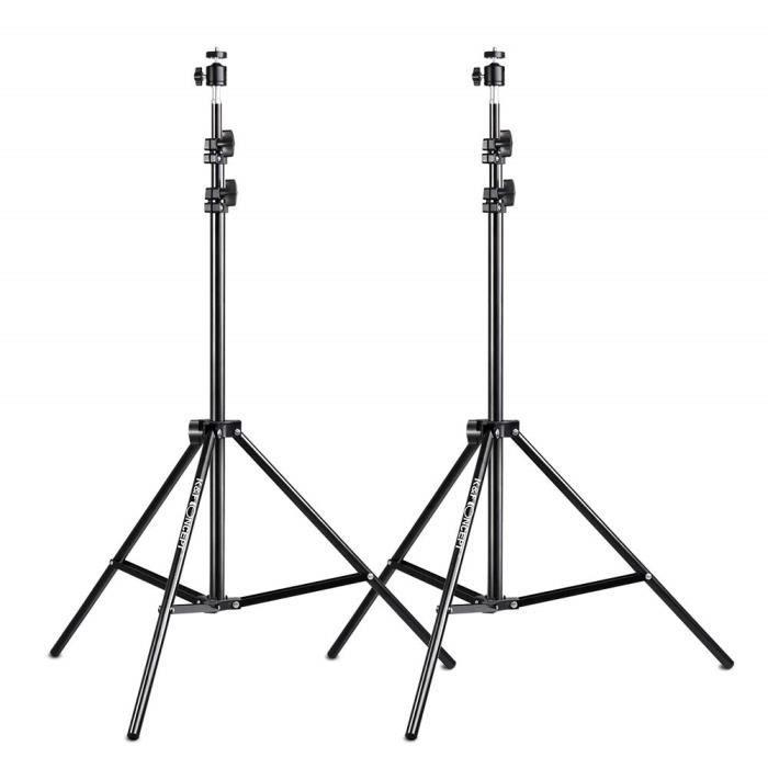 """Perches et supports d'éclairage K&F Concept Lot de 2 trépieds pour éclairage avec 1-4"""" Vis Rotule 200 cm Réglable pour C 37044"""