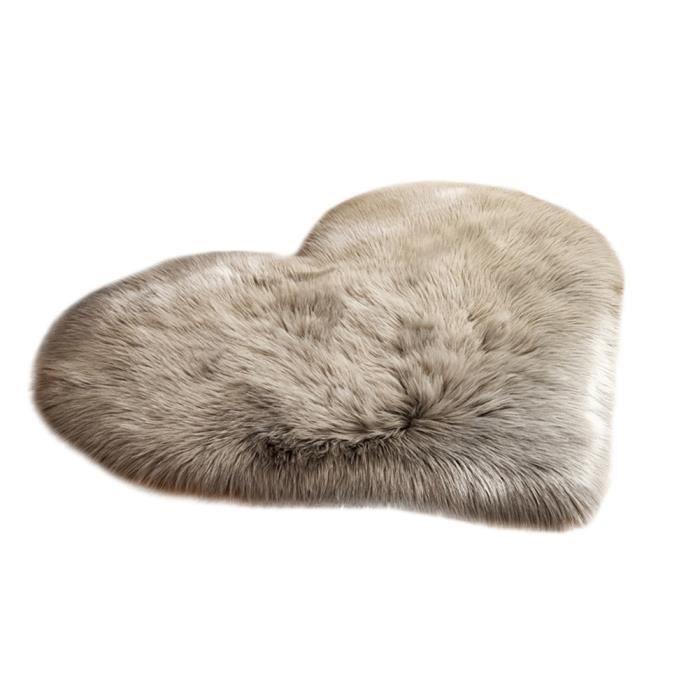 Faux laine coeur Tapis gris Accueil Tapis de sol Coussin Pad Fluffy Zone Tapis souple en fausse fourrure Tapis