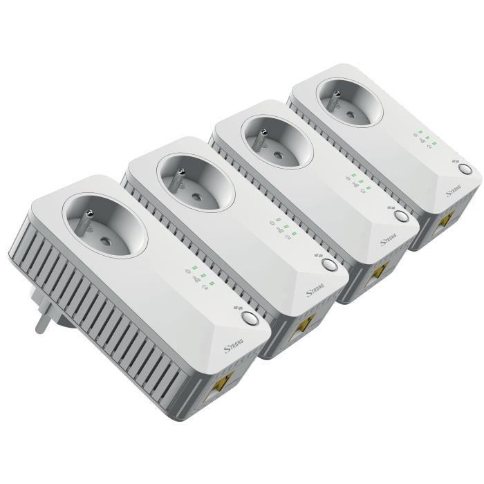 STRONG Kit 4 adaptateurs CPL filaire 500 Mbit/s - Prise gigogne et 1 port ethernet par CPL