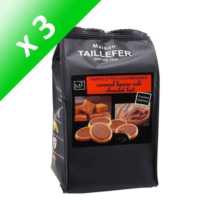 [LOT DE 3] MAISON TAILLEFER Tartelettes Gourmandes Caramel beurre salé - Chocolat Lait Sachet de 9 -125g