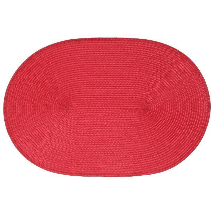Set de table tressé ovale - Rouge