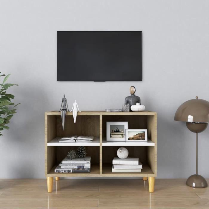 WONG Meuble TV avec pieds en bois Blanc et chêne sonoma 69,5x30x50cm