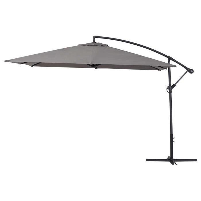 Parasol jardin déporté Alu -Ilios 3- - Carré - 3 x3 m - Gris