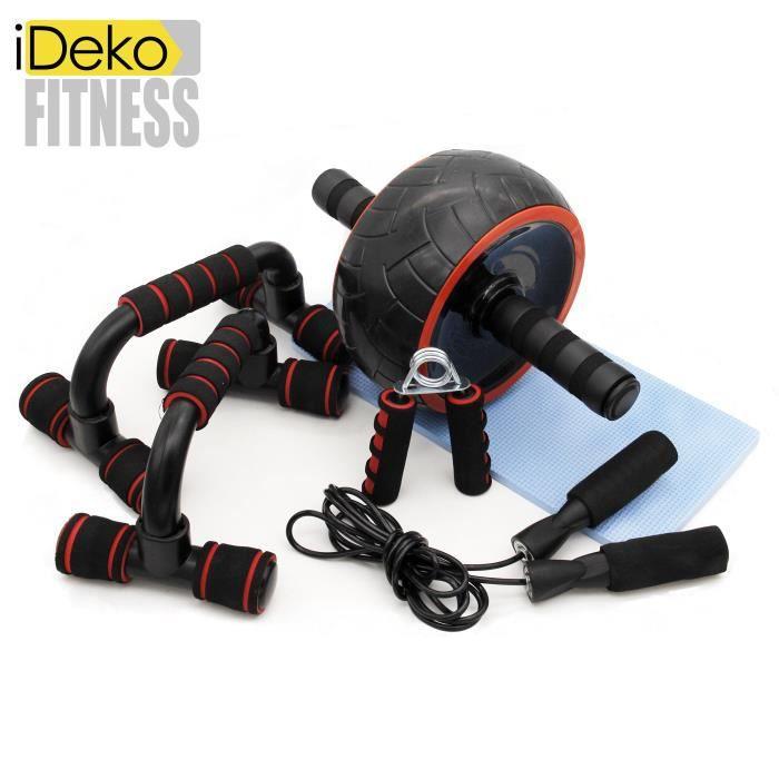 iDeko® Appareils de Fitness 5 en 1 Roue Abdominale + Poignée de Pompe + Corde à Sauter + Pince à Main Tapis pour Genou pour Fitness
