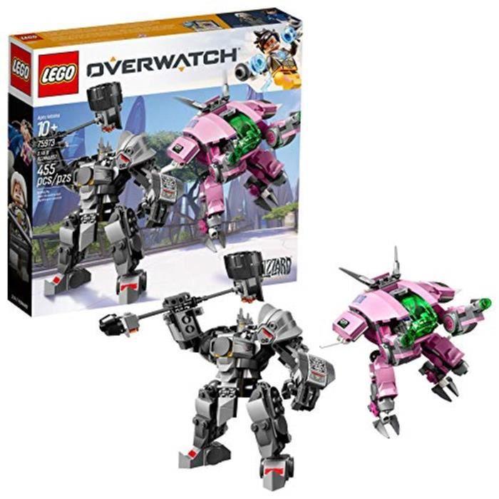 Jeu D'Assemblage P0FLP Overwatch D.VA et Reinhardt 75973 Kit de construction Mech avec des figurines de personnages Overwatch popula