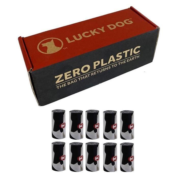 Sacs à Déjection Canine Zero Plastic 100% Végétal Compostable 10 Rouleaux 150 unités LUCKY DOG
