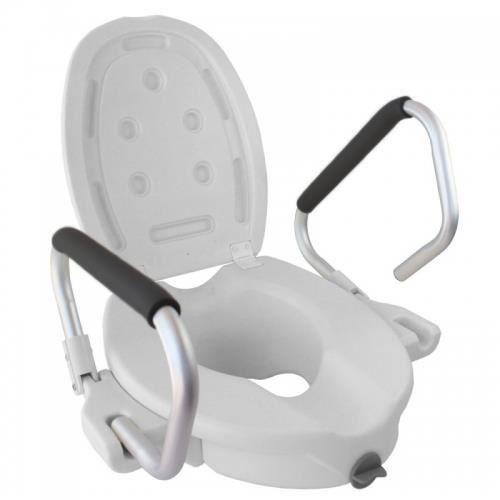 Rehausseur WC - Siège de toilette - Avec couvercle et accoudoirs - Blanc - Guadiana - Mobiclinic