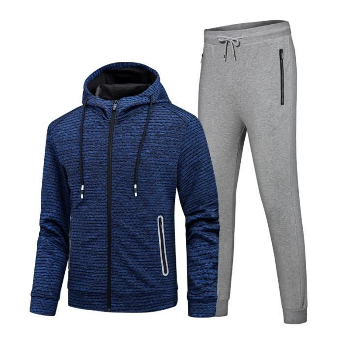 Ensemble de Jogging Sports Homme Vêtements Veste+Pantalon Homme de Sport Fashion